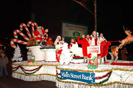 Main Street Bank's Wheeling Christmas Parade Float